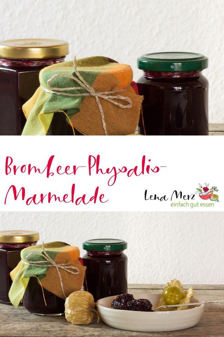 Brombeer Rezepte einfach und schnell - eine köstliche Brombeer-Physalis-Marmelade selber machen. Die Konfitüre schmeckt lecker und ist ein tolles Geschenk! #brombeerenrezepte