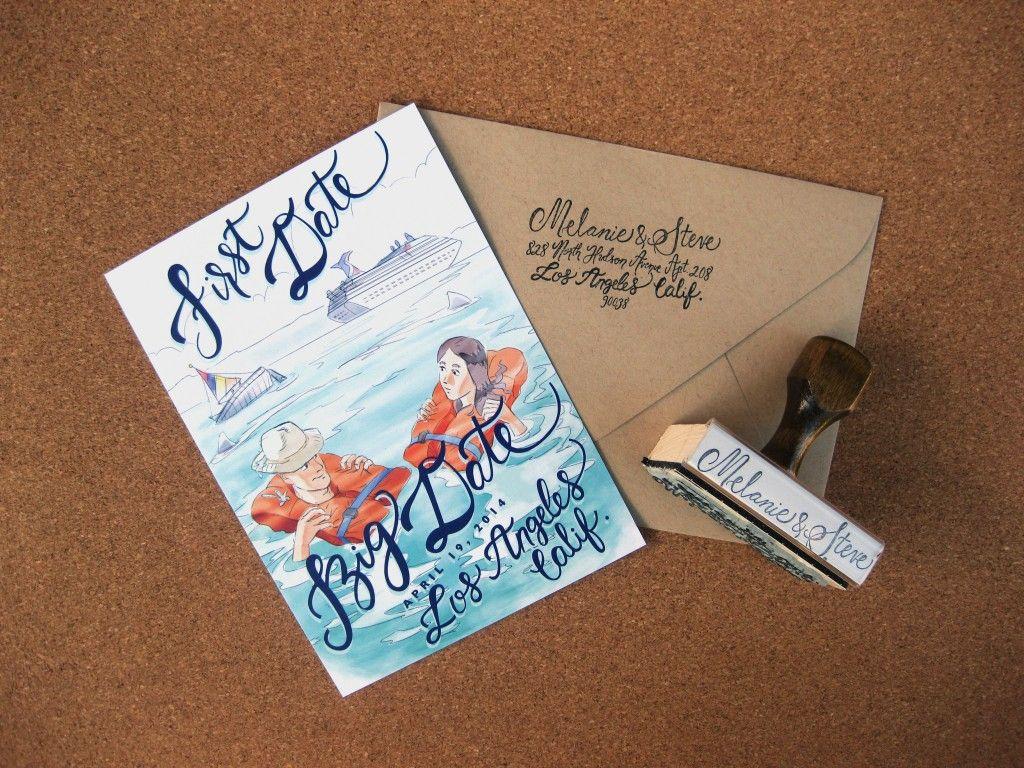 Melanie Steve S Custom Hand Lettered Wedding Save The Date