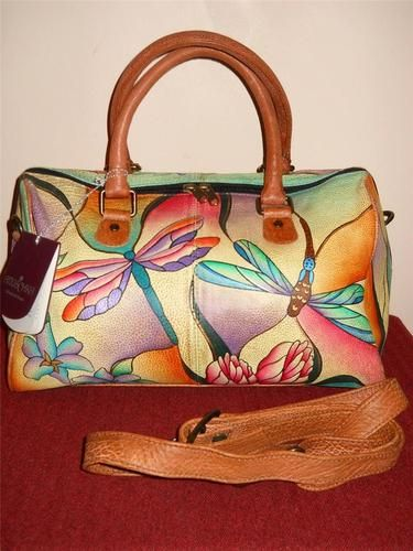 Chka Hand Painted Leather Dragonfly Satchel Handbag Great Bag With Tags
