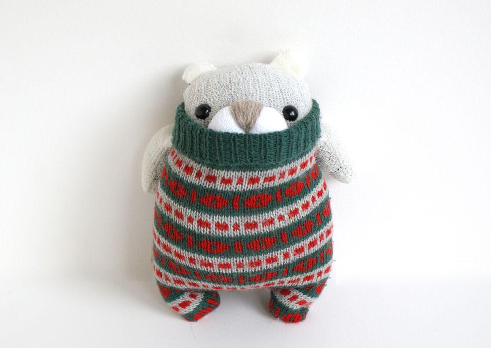 Little Polar SockBear George, red & green Christmas sweater plush
