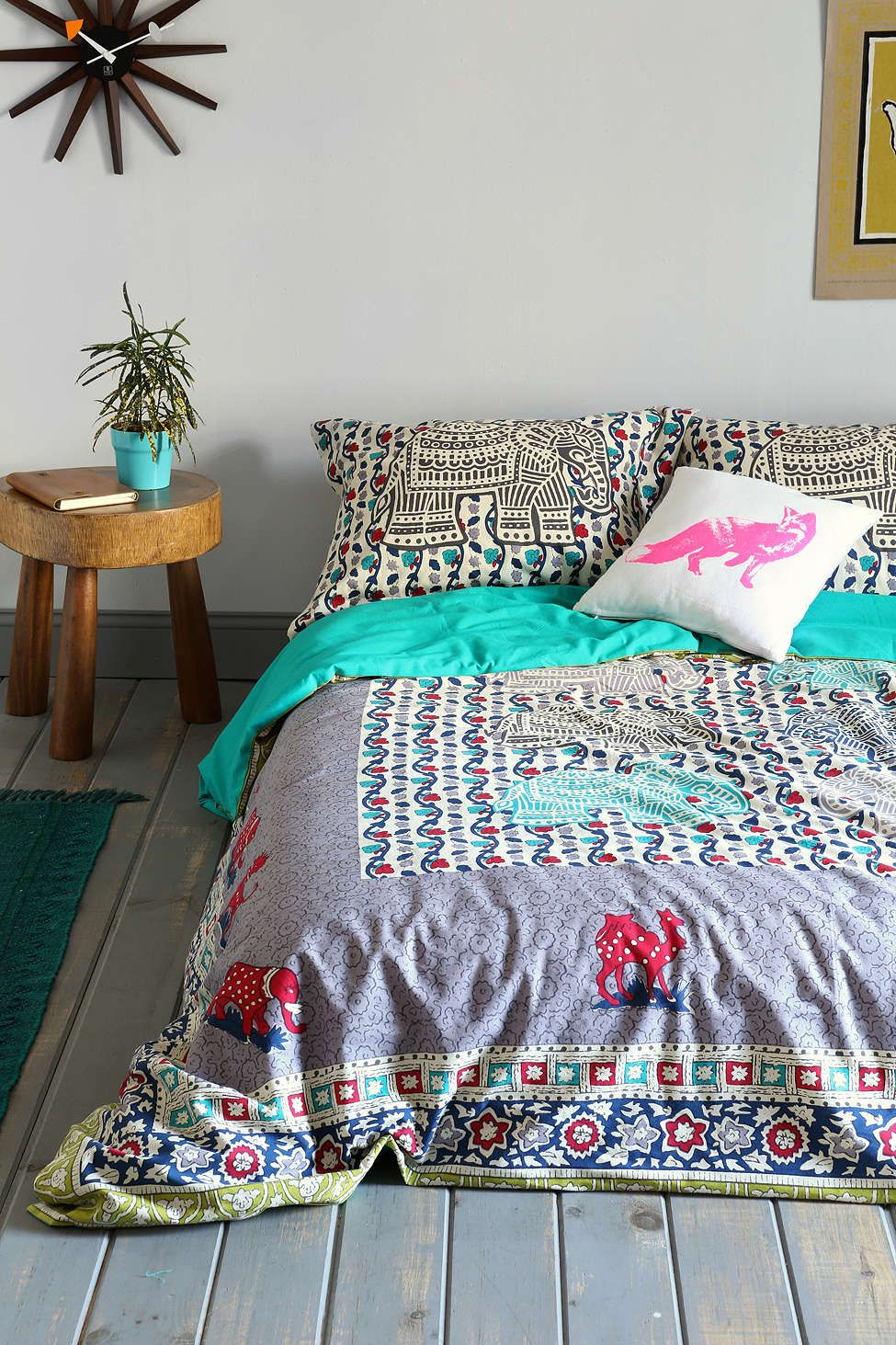 Magical Thinking Elephant Stamp Duvet Cover Home Duvet Covers Urban Outfitters Dorm Bedding