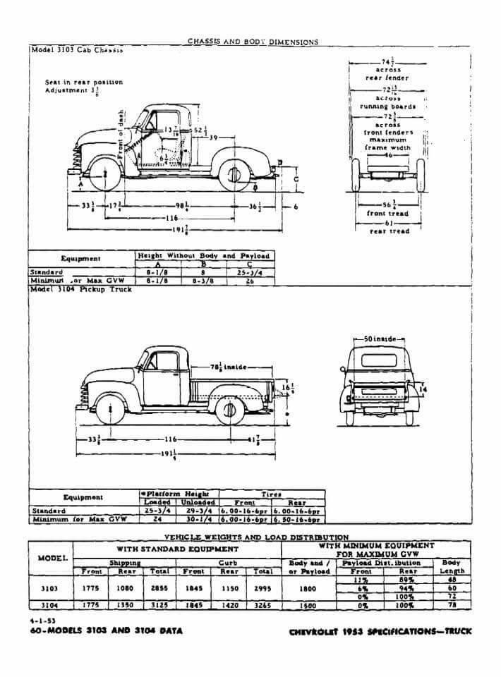 Advance Design Chevrolet Truck Measurements Classic Trucks Chevy Trucks 1954 Chevy Truck