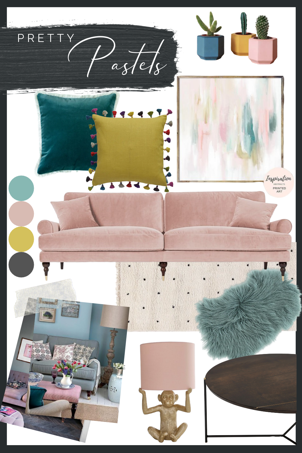 Pastel Living Room Interior Design Concept Moodboard In 2020 Pink Living Room Decor Blue And Pink Living Room Yellow Bedroom Decor #pink #and #teal #living #room