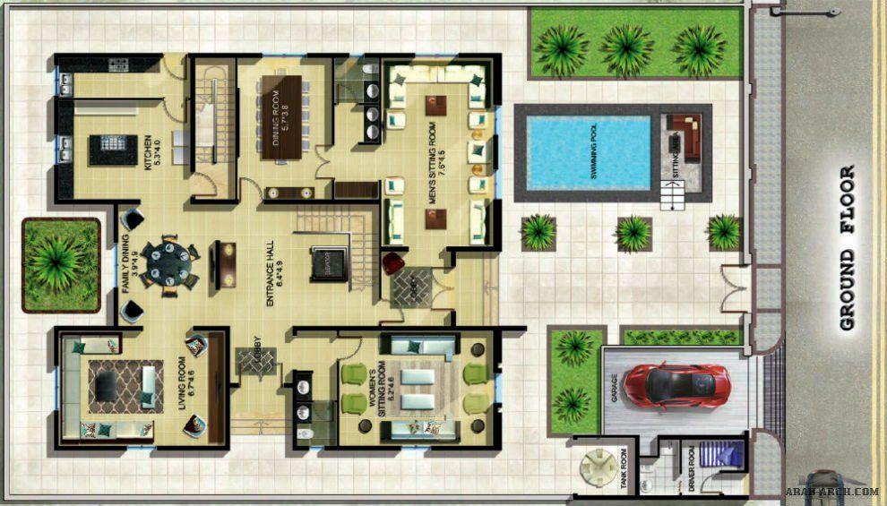 نموذج فيلا ليلي غرفة نوم رئيسية مع حمام أربع غرف نوم مع حمام House Layout Plans House Design Architecture Plan