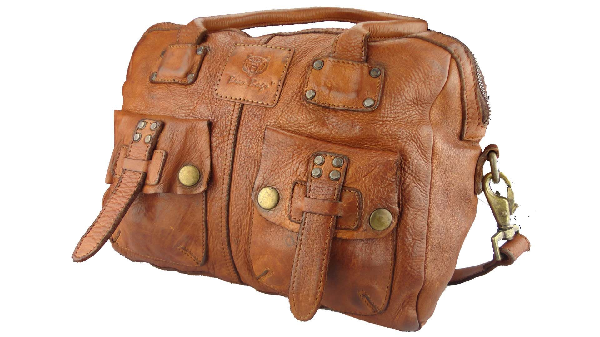40d9b4570f2 Bear Design Grizzly Leren Handtas Schoudertas Gewassen Leder Cognac -  Barneys Leather