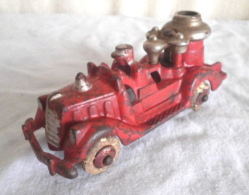 Old Cast Iron Hubley Fire Truck Toy
