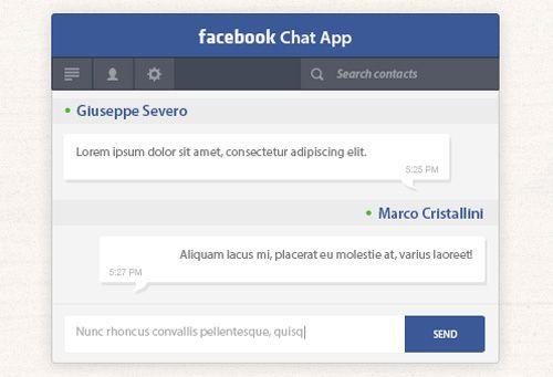Facebook Chat App Free PSD File #freepsdfiles #photoshoppsdfiles - resume app