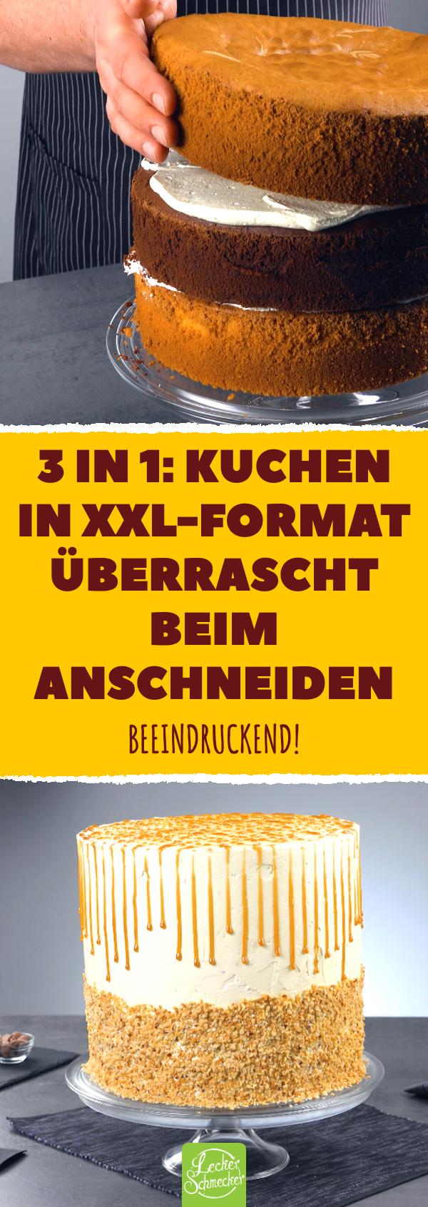 3 in 1 kuchen in xxlformat überrascht beim anschneiden