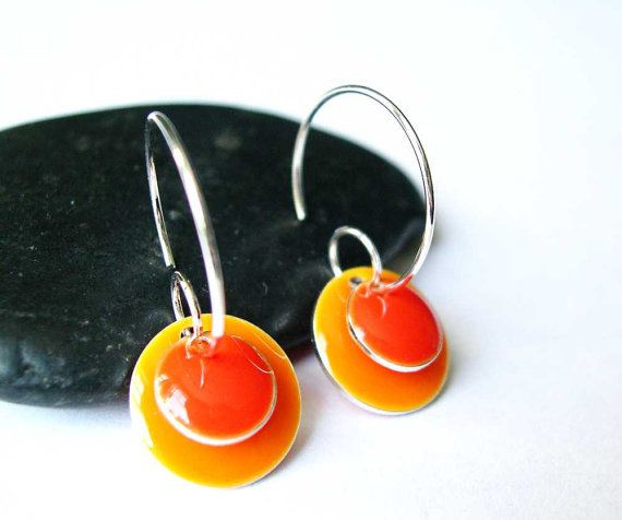 Orange Enamel Earrings  Silver Hoop Modern by SYMBOLICinteraction, $15.00