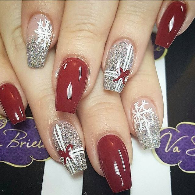 Pin by blanca redondo vega on mis uas pinterest manicure i would do all red with the silver gifts on the accent nails festive christmas nail designs for an outstanding christmas nail art can help you get into the prinsesfo Choice Image