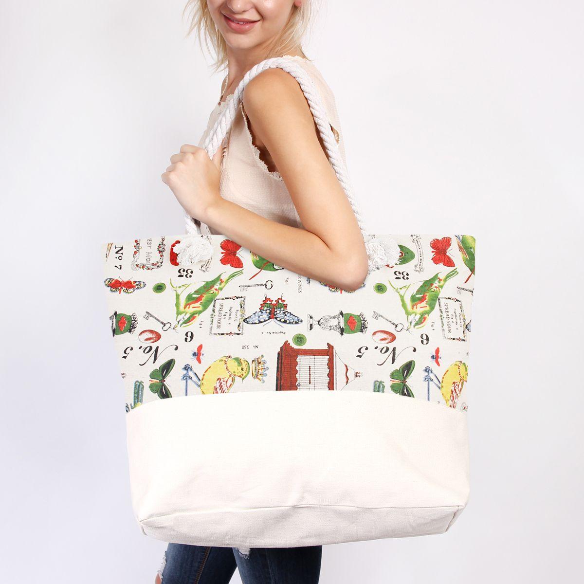 Bird Print Jumbo Tote Bag - $14.99. https://www.bellechic.com/deals/7a47ecc44c06/bird-print-jumbo-tote-bag