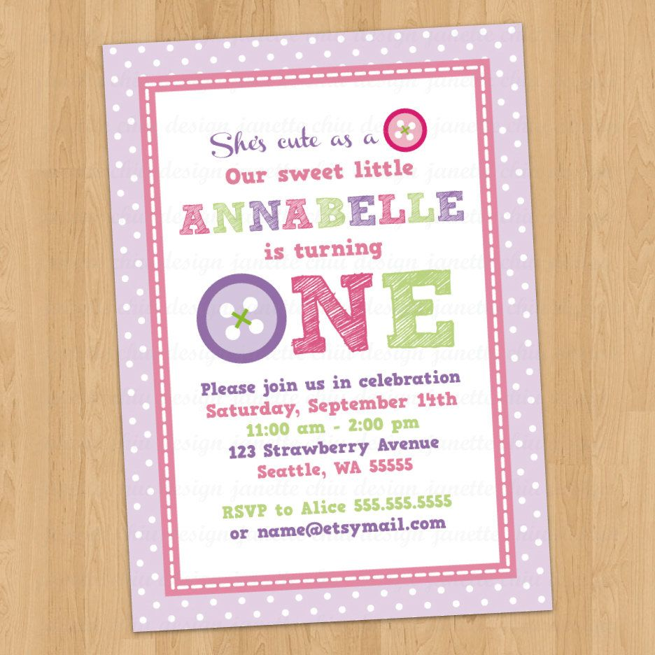 Cute Button First Birthday Party Invitation By