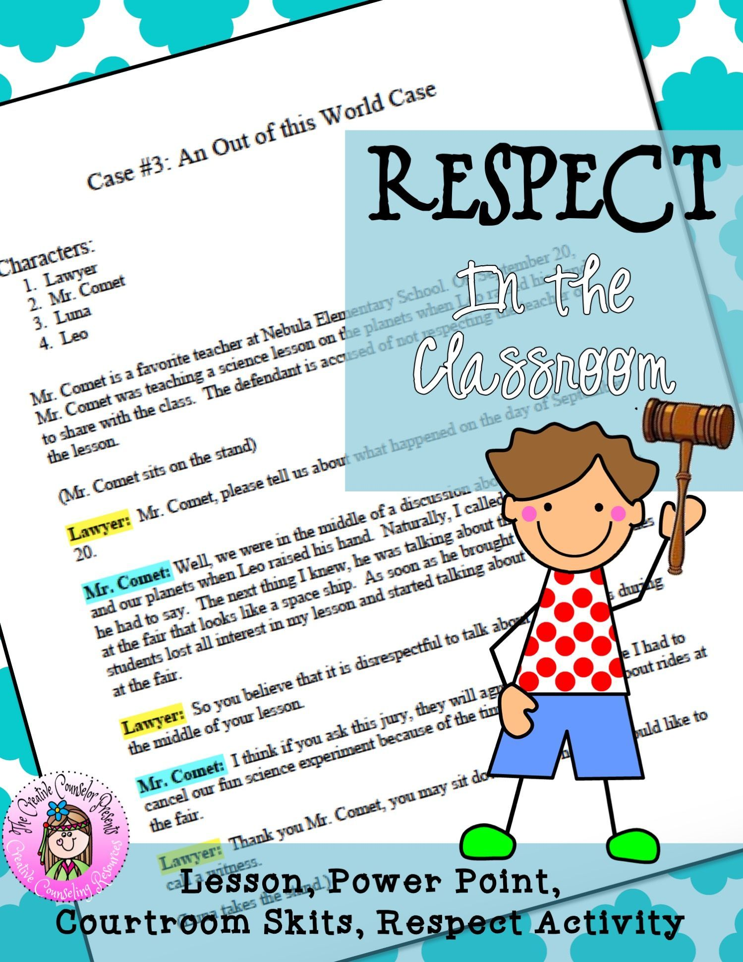 Respect In The Classroom School Counseling Guidance Lesson
