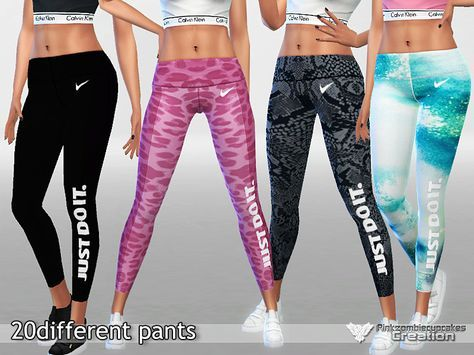 Photo of High ql sporty pants in 20 styles and colors. Found in TSR Category 'Sims 4 Fema…