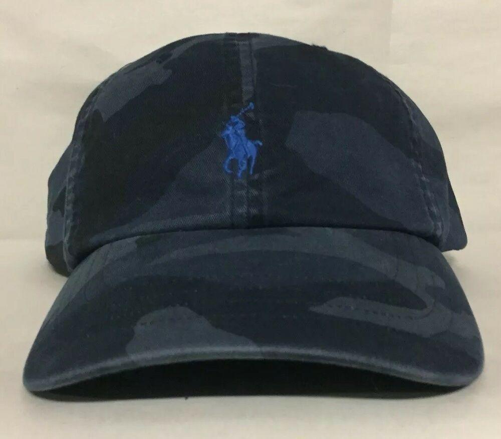 """Men/'s POLO-RALPH LAUREN Blue /""""CAMO/"""" Baseball Cap// Hat"""