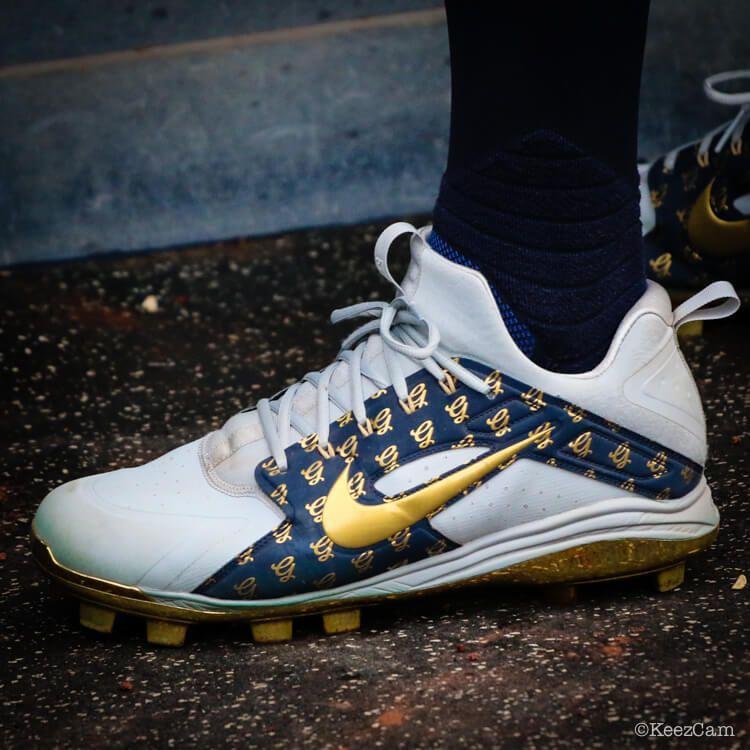 f0d5a116b292 What Pros Wear Giancarlo Stanton s Nike Alpha Huarache Elite Low Cleats  (PE) What Pros Wear