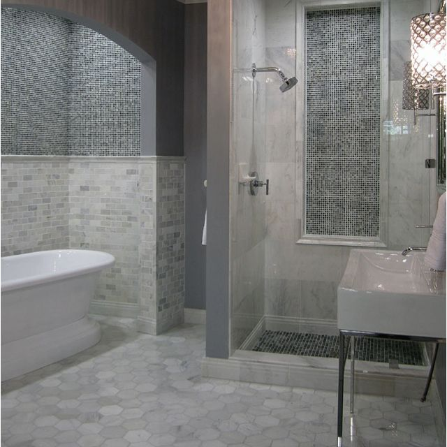 Luxury Marble Bathroom With A Glass Mosaic Accent Bathroom
