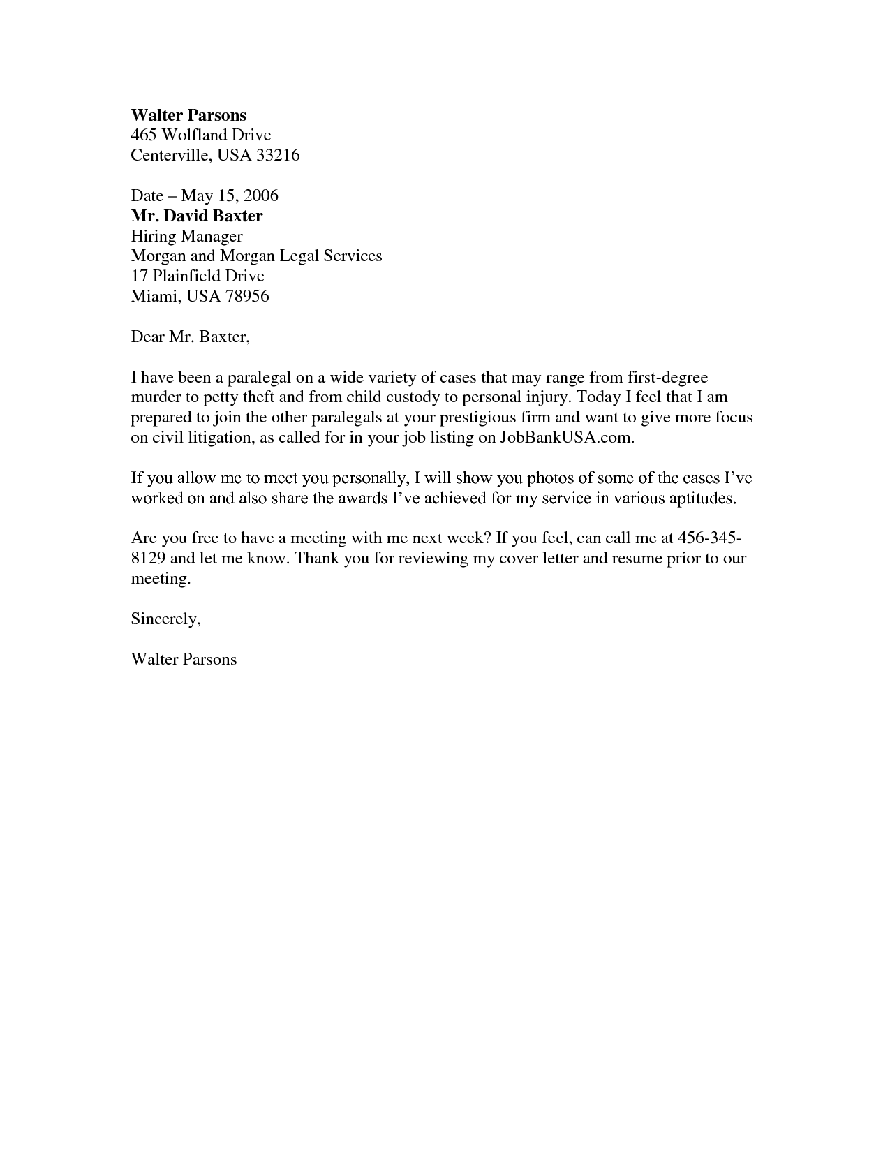 paralegal job cover letter sample - Google Search | Funemployment ...