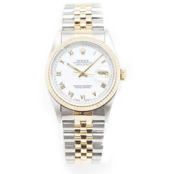 NM Watch Collection by Crown & Caliber Classic Rolex DateJust... ($5,145) ❤ liked on Polyvore featuring jewelry, watches, gold wristwatches, gold jewelry, bracelet watches, 18k gold jewelry and gold bracelet watches