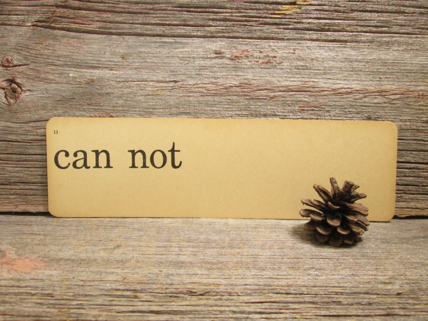 "Vintage Flash Card "" Can Not "" Word Card"
