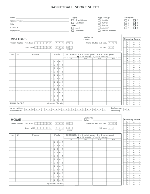 Editable Basketball Player Sheet Form Basketball Sheet Scores