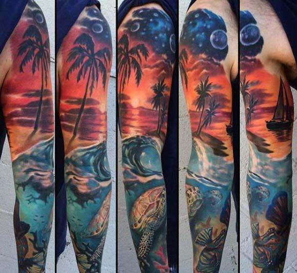 image result for beach sleeve tattoo hawaiiantattoossleeve hawaiian tattoos pinterest. Black Bedroom Furniture Sets. Home Design Ideas