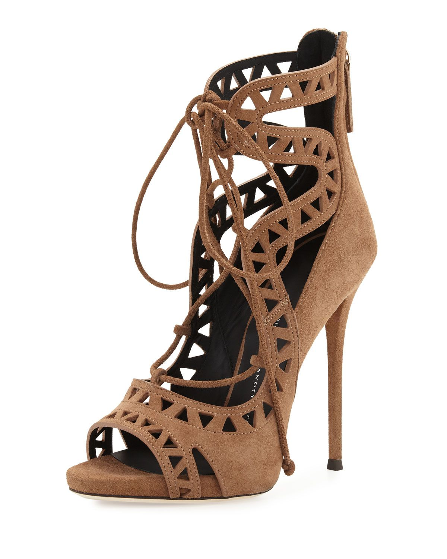 Coline Laser-Cut Suede 110mm Sandal, Lepre - Giuseppe Zanotti