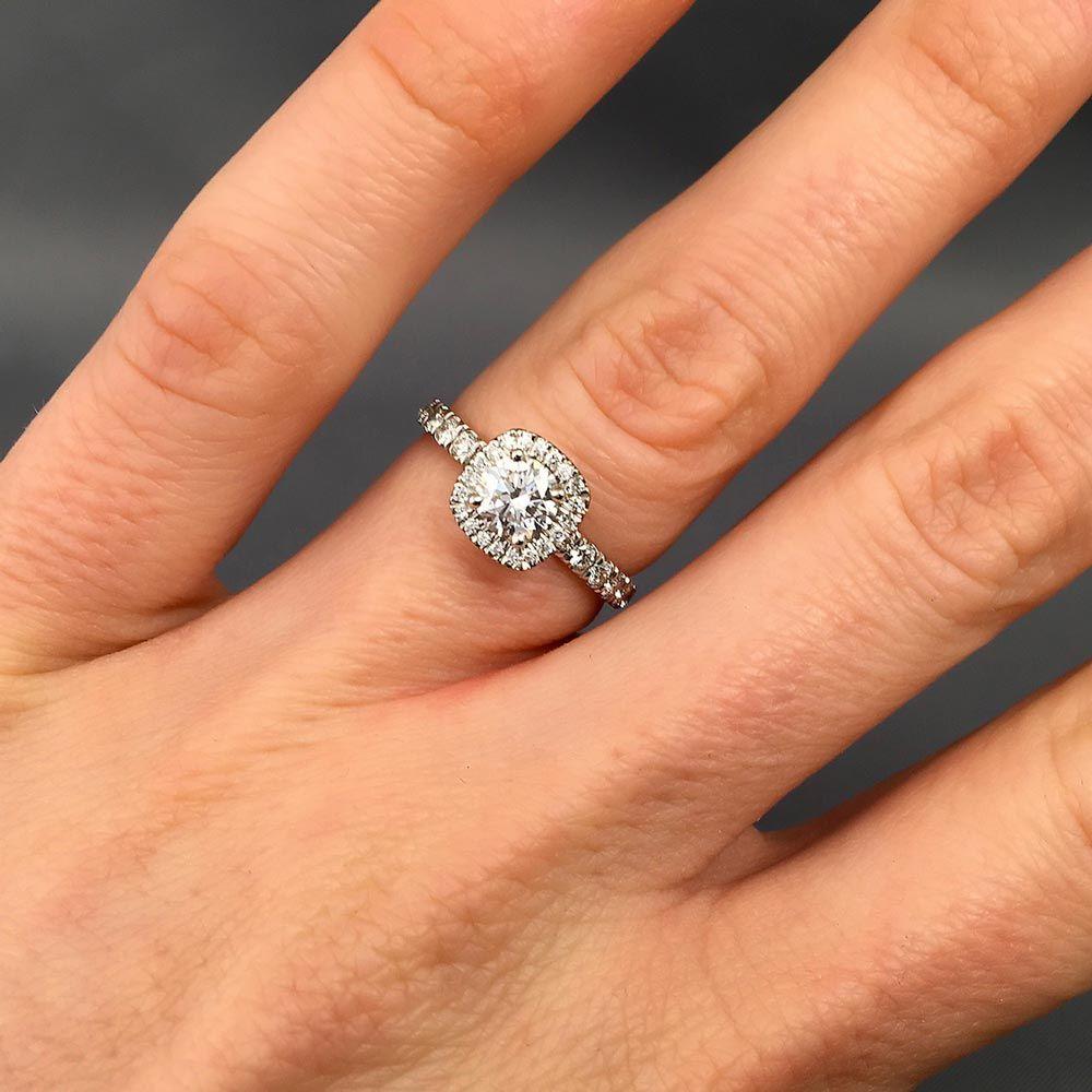 Ema Halo Diamond Engagement Ring Daniel Christopher Jewellery Halo Diamond Engagement Ring Engagement Rings On Finger Platinum Halo Engagement Ring