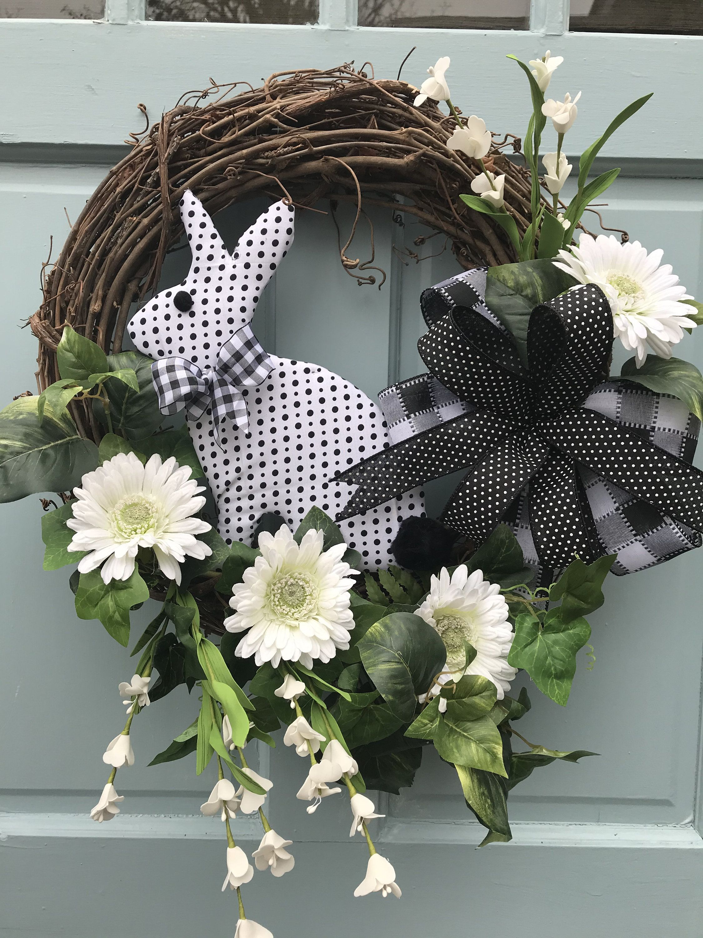 Photo of Easter Plaid Bunny with black and ivory plaid snd stripes bow, Easter wreaths, bunny wreath for front door, Bunny Wreath for door, farmhouse