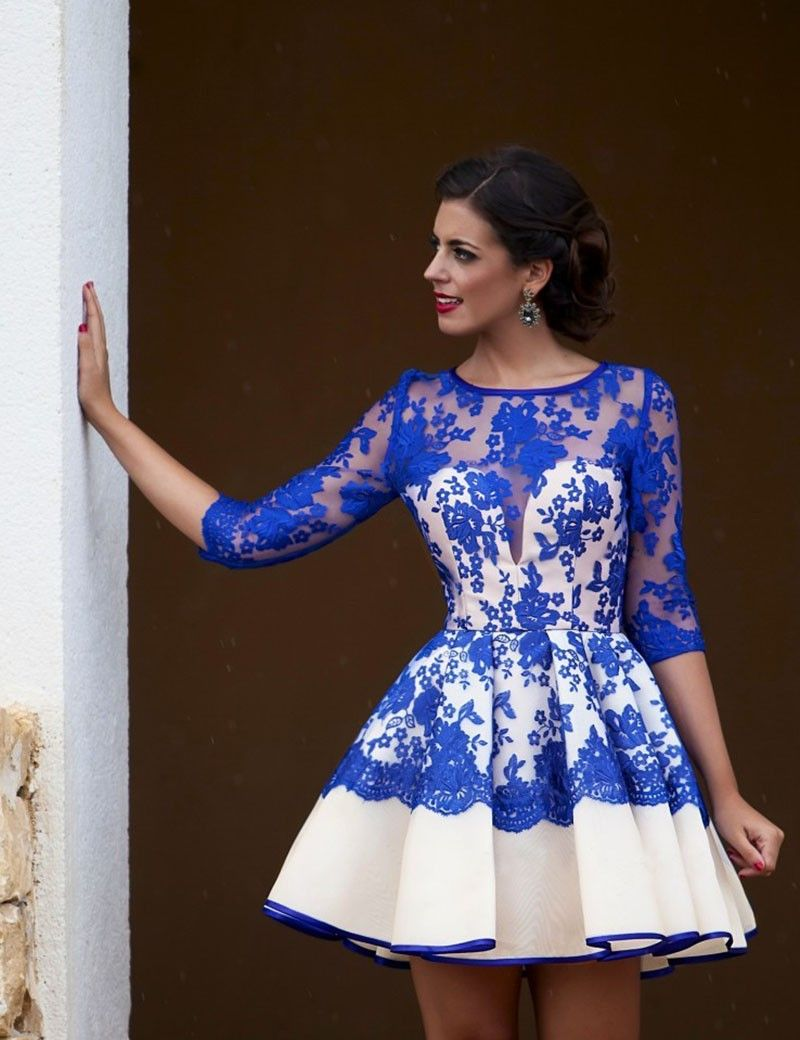 Sexy See Through Lace Above Knee Party Dress Royal Blue Short Lace