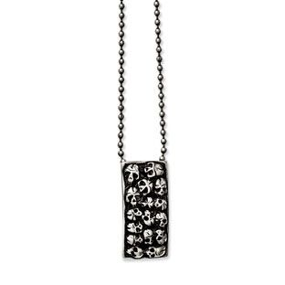 Stainless Steel Polished Antiqued Fancy Lobster Closure Skull Necklace 24 Inch