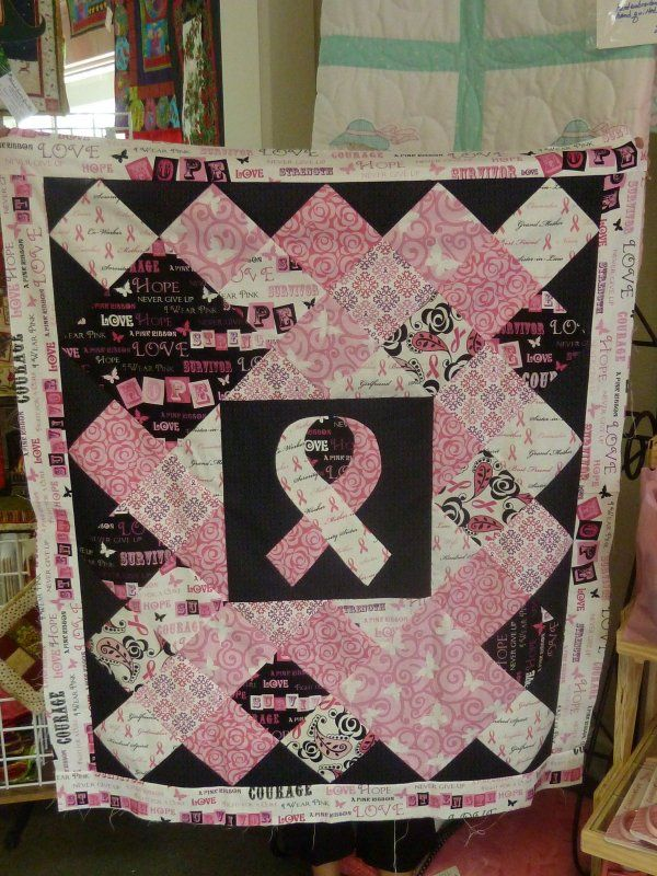 Pin By Belinda Bell On Quilt In 2020 Cancer Awareness Crafts Custom Quilts Ribbon Quilt
