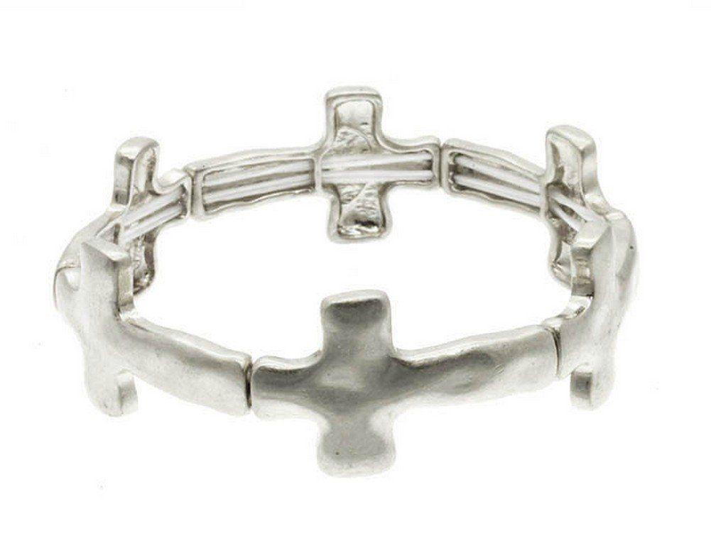 IceCarats Designer Jewelry Metal Fashion Link Matte Hammered Silver Tone Stretch Cross Bracelet