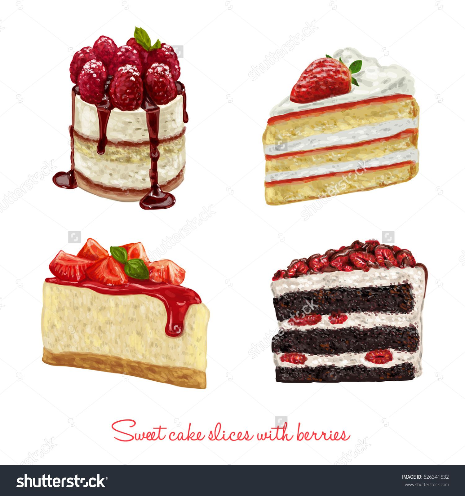 Hand drawn vector delicious cake slices set currant, black