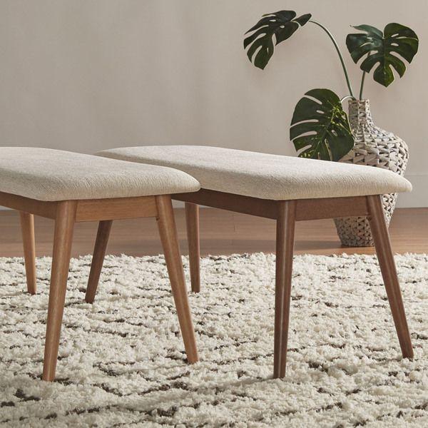 MID CENTURY LIVING Norwegian Danish Modern Tapered Upholstered Bench