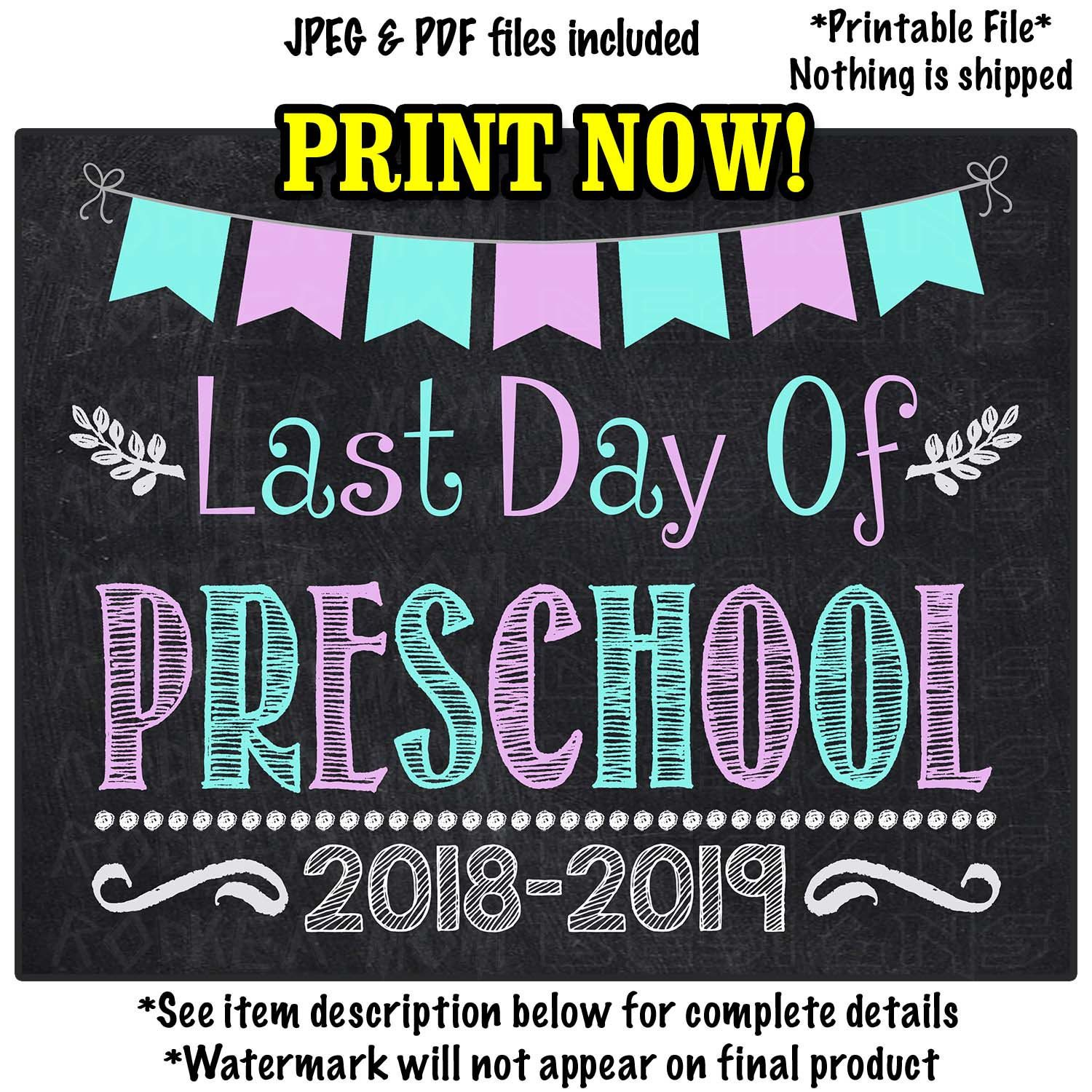 picture relating to Last Day of Preschool Sign Printable titled Final Working day of PRESCHOOL Signal Immediate Down load, Preschool Grad