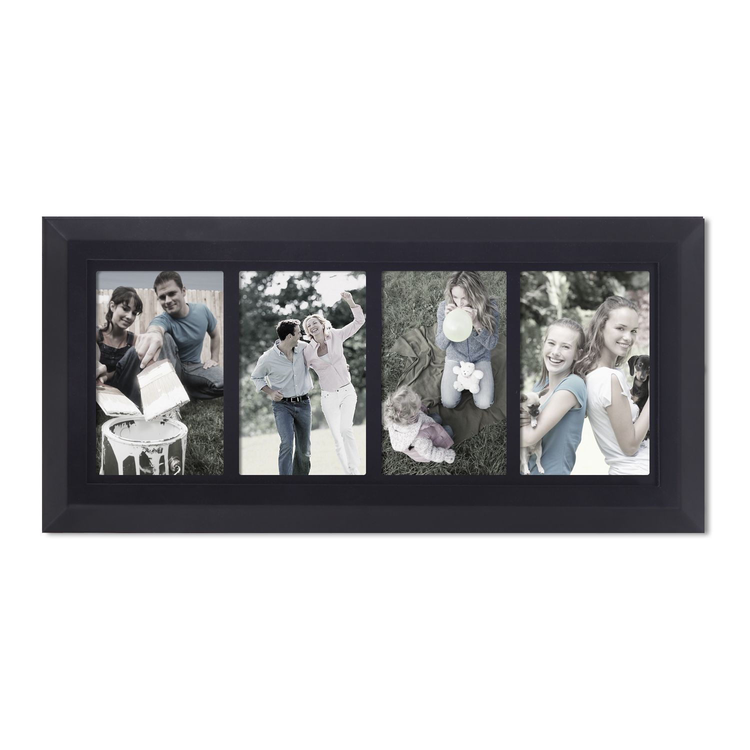 Adeco Decorative Black Wood Divided 4 Opening Pf0541 Collage