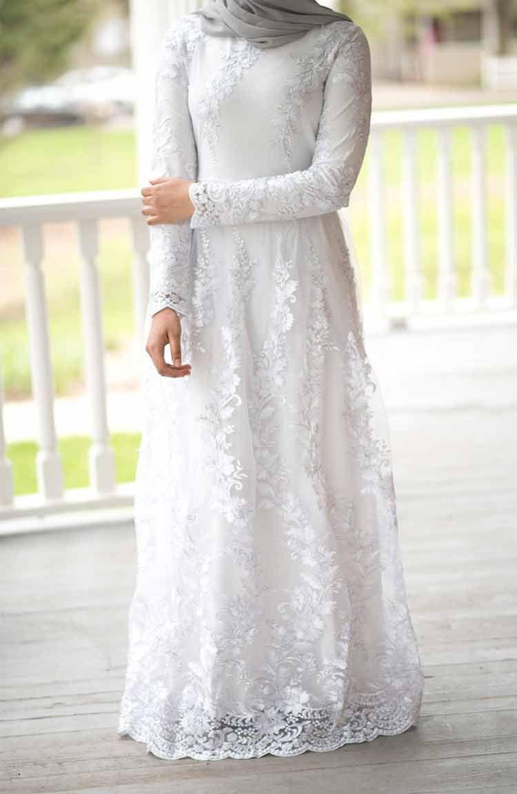 Model Gamis Warna Putih Terbaru di 10  Pakaian pernikahan, Gaun