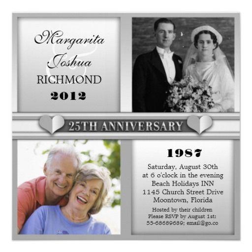 25 Year Wedding Anniversary Party Ideas: Modern Elegant Silver 25 Anniversary Invitations