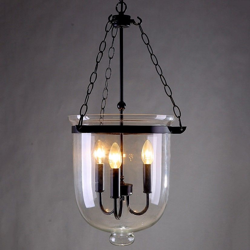 Retro Rustic Clear Glass Bell Jar Pendant Light With 3