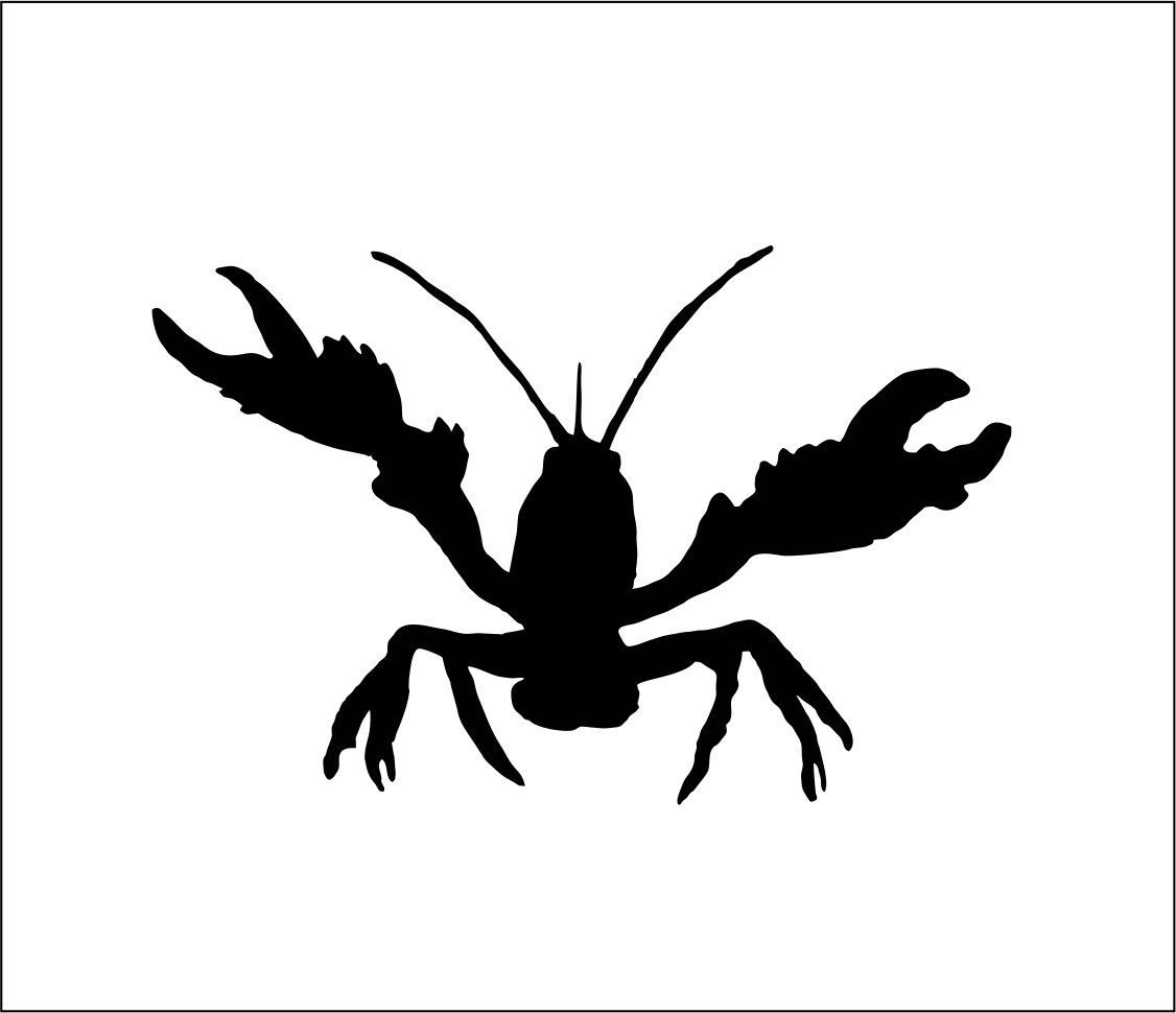 Crawfish Decal Adhesive Vinyl Sticker Approx 7 For Cars