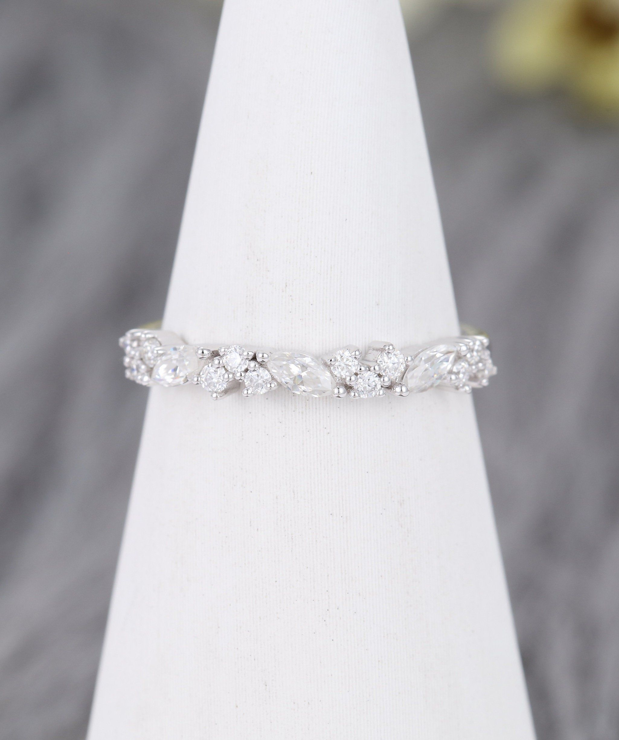 Wedding Band White Gold Moissanite Marquise Curved Wedding Band Women Diamond Wedding Band Matching Ring Stacking Ring Anniversary Gift