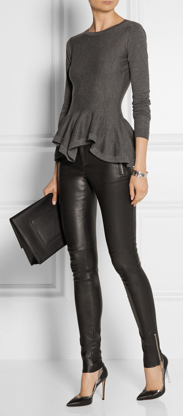 New Black Genuine Leather Leggings Trouser Skinny Pants Size 2-16 Women 2-16 badc84c285b3