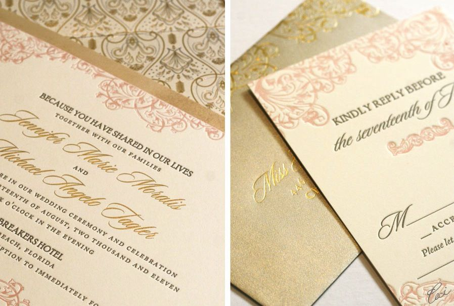Blush Pink And Gold Wedding Foil Stamped Invitations Cream