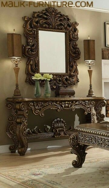 Pin By Karim On Furniture Mirror Console Tuscan Decorating Home Decor