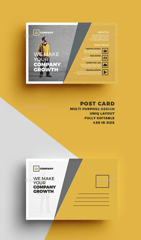 Postcard | Business postcards, Postcard design and Business cards