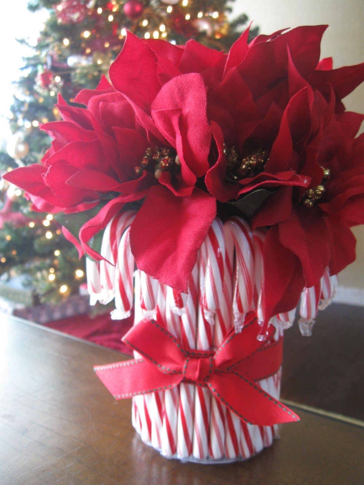Diy candy cane vase poinsettia canes and holidays
