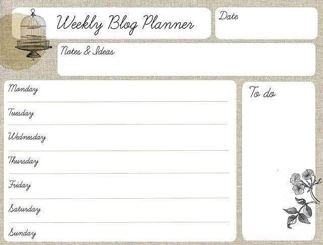 Weekly Blog Planner Printable