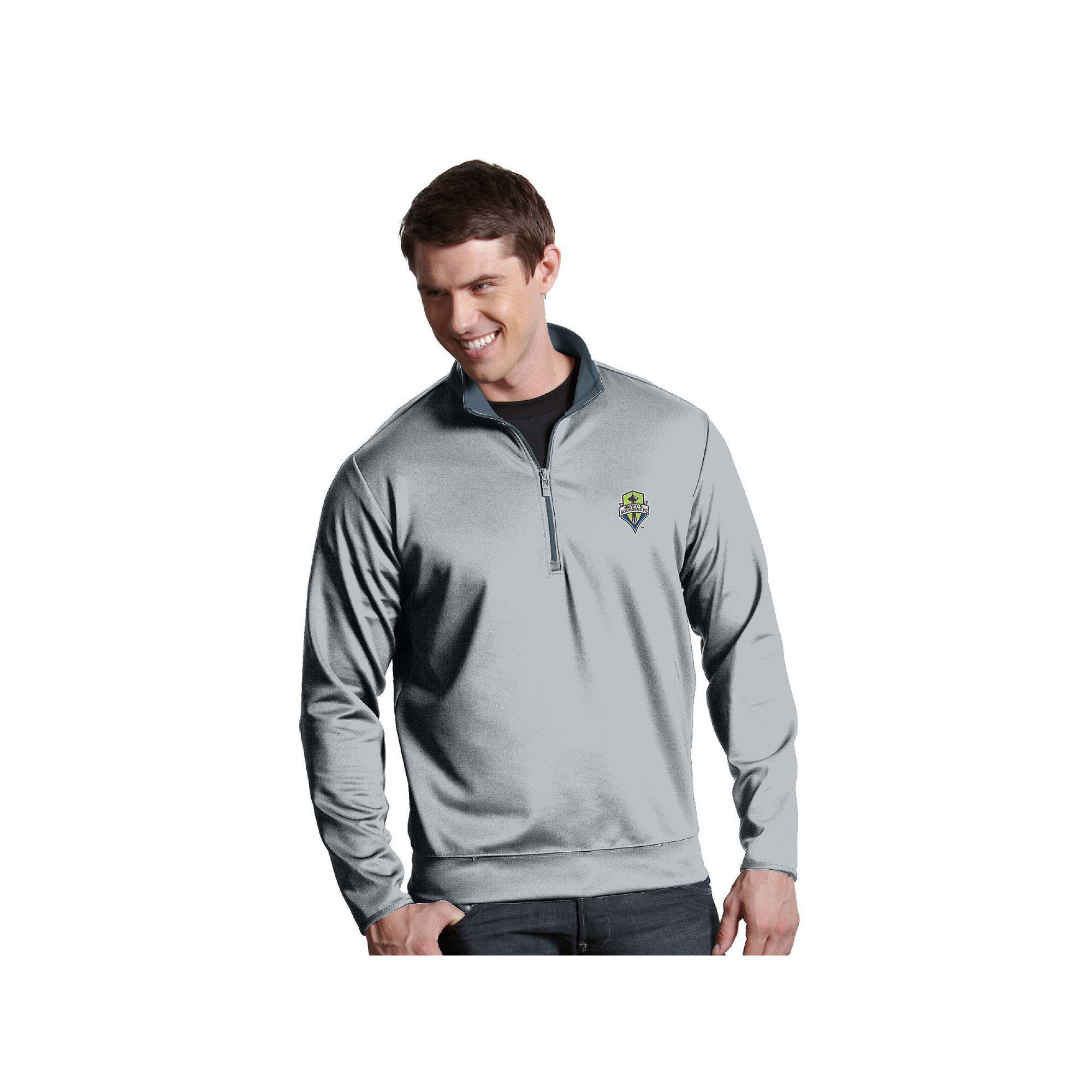 Men's Antigua Seattle Sounders Leader 1/4-Zip Pullover, Size: Medium, Silver