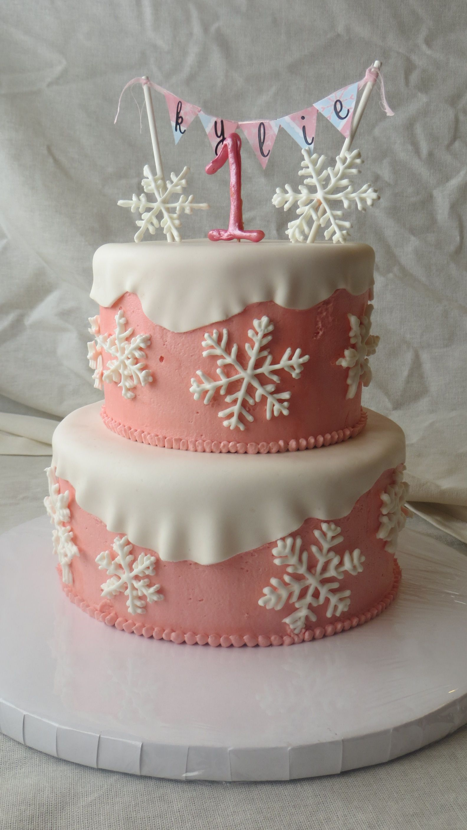 Birthday Cakes Winter Onederland Cake Royal Icing Snowflakes